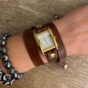 La Mer leather wrap watch